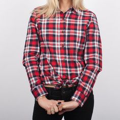 Red Womens Plaid Shirt Made in USA #basics