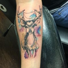 my new forearm piece, she's so cute! #deer #tattoo #watercolor #animals #woodland #cute