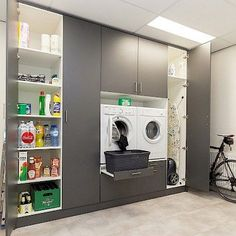 Buanderies More and more customers discover our custom solution for your washing machine space The L Modern Laundry Rooms, Laundry Room Layouts, Laundry Room Remodel, Laundry In Bathroom, Utility Room Storage, Laundry Room Organization, Laundry Room Inspiration, Laundry Room Design, Small Room Bedroom