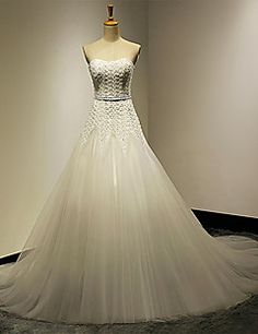A-line Sweetheart Cathedral Train Wedding Dress – USD $ 199.99