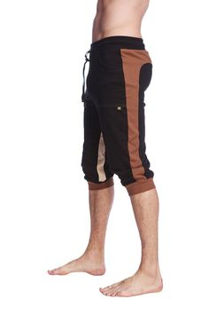 Ultra-Flex Tri-color Cuffed Yoga Pant (Black w/Chocolate & Sand)