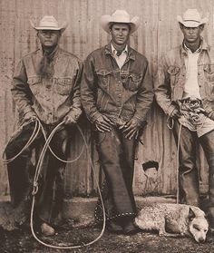 To me, this is what real cowboys look like. Hard work, horse sweat, dirty hands, rope always in their hands, and of course a handy dog. <3  Love This. :)