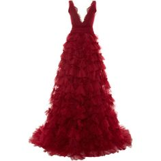 Marchesa Layered Embroidered Tulle Ball Gown (22.515 BRL) ❤ liked on Polyvore featuring dresses, gowns, red dress, tulle ball gown, beaded gown, v neck dress and red evening dresses