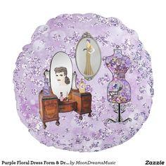 #PurpleFloral #DressForm & #Dresser #BokehBling #RoundThrowPillow by #MoonDreamsDesigns #MoonDreamsMusic