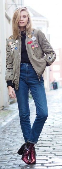 #street #style #spring #2016 #it-girl #outfitideas | Patched Bomber + Black Top + Denim | Thefashioneaters