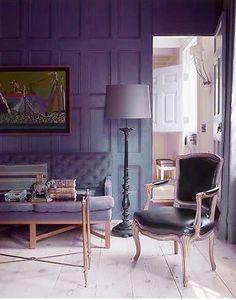 Purple decor with art. #LivingRoom #Style