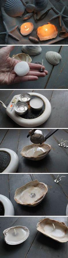 DIY - Porta velas con conchas