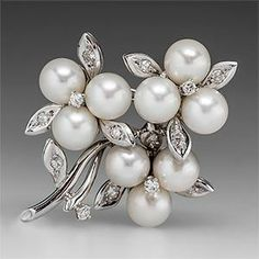 VINTAGE FLORAL PEARL & DIAMOND BROOCH PIN 14K WHITE GOLD