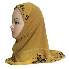 Cogongrass Girls Kids Muslim Hijab Islamic Scarf Shawls Flower Pattern Polyester about 45cm Yellow ** Click image to review more details.