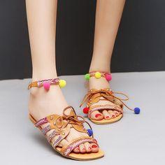 4ab601a714d2b Bohemia Style Lace up Vintage Women Sandals Summer Shoes