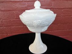 Indiana Milk Glass Opaque White Harvest Grape Compote & Cover #IndianaGlass