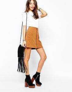 Image 1 ofNew Look Zip Front Suedette Skirt