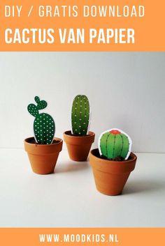 Cactussen zijn een must-have voor in huis. Geïnspireerd door deze trend maakte Liza een diy met gratis printables voor vrolijke cactussen van papier. Je download de printable hier gratis.