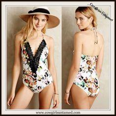 WILDFLOWER BIKINI Black Lace Deep V Neckline on Floral One Piece Swimsuit #bikini #lace #floral #Swimsuit #bathing suit #pool #beach #boho #gypsy #cowgirl #summer #fashion