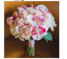 Swee Akito roses, white phalaenopsis  orchids, light pink stock flowers, white hydrangea bridal bouquet ......dusted with glitter......