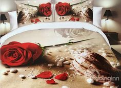 #Rose and Conch on Beach Print 4-Piece Polyester #3D Duvet Cover #bedroom #bedding