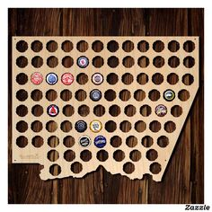 Oregon Beer Cap Map OR Glossy Finish Wood Beer Cap Holder Craft - Oregon beer cap map