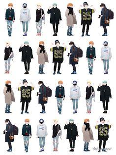 Boy Fashion, Fashion Art, Korean Fashion, Fashion Outfits, Anime Outfits, Boy Outfits, Cute Outfits, Vetements Clothing, Kleidung Design