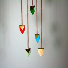 Delicate hanging chevron arrows. I'd do this for my crib.