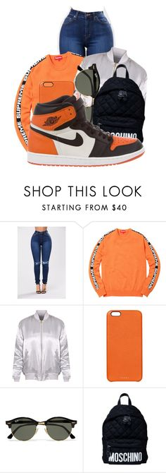 """""""Orange × Air Jordans"""" by anariebreezy ❤ liked on Polyvore featuring Chaos, Ray-Ban, Moschino and NIKE"""