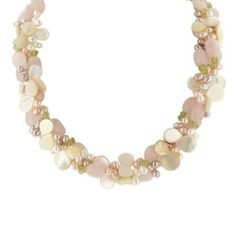"3-Row Rose Quartz, Peridot, White Mother-Of-Pearl, and Multi-Color Freshwater Cultured Pearl Necklace with Sterling Silver Clasp, 17.5+3"" Extender Amazon Curated Collection. Save 64 Off!. $59.00. Gemstones may have been treated to improve their appearance or durability and may require special care. The natural properties and composition of mined gemstones define the unique beauty of each piece. The image may show slight differences to the actual stone in color and texture. Made in China"