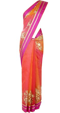 Rohit Bal presents Orange and pink sari available only at Pernia's Pop-Up Shop. Indian Attire, Indian Ethnic Wear, Indian Wedding Outfits, Indian Outfits, Rohit Bal, Desi Wear, Pernia Pop Up Shop, Indian Couture, Beautiful Saree