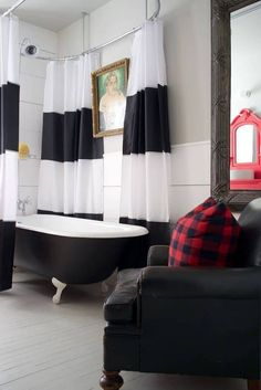 leather accent chair in the bathroom!