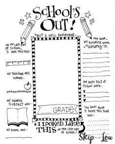 End of School Memory Printable. Remember your child's school year and favorites- simply print, color, and complete | Skip To My Lou