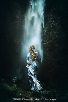 Terrence Drysdale HISTORICAL YOUNG BLONDE WOMAN NEAR WATERFALL Women