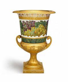 A Berlin KPM porcelain krater form vases with floral and foliate décor. #vase #kpm #lempertz