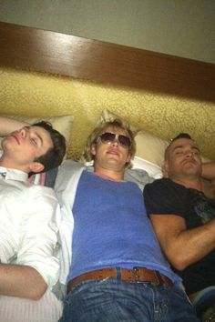 Chris Colfer, Chord Overstreet & Mark Salling napping on the set of Glee.