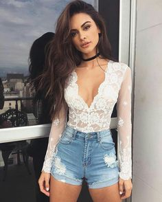 White lace and denim skirt