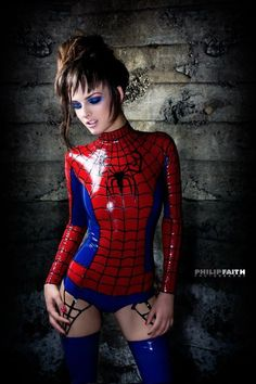 Cosplay of the day: Latex Spider-Girl Spider-Girl in full latex by philip faith photography. This is model Kat Seguin wearing what seems t to be the tightest spider-man suit possible. Via