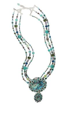 Triple-Strand Necklace with Czech Fire-Polished Glass Beads and Paua Shell Cabochons