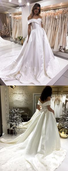 Elegant Off The Shoulder Sweep Train Satin Wedding Dresses Lace Embroidery 2018 New Arrivals P1908