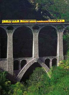 Séjourné Viaduc Bridge - Yellow train - Pyrénées-Orientales dept. - Languedoc-Roussillon region, France .....travel-wonder.blogspot.com