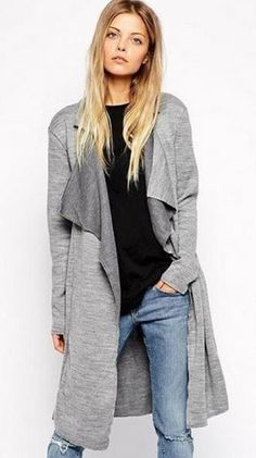 Grey  Belted Knit Trench Coat Fashion