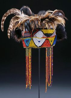 Africa | Diviners headdress (nkaka). Tabwa peoples | DR Congo | Leather, fiber, beads, and feathers | mid-20th century