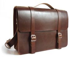 """This large leather messenger is a simple men's bag, also available in a small 14"""" size, that is as elegant as it is durable. A lifetime bag made in the US."""