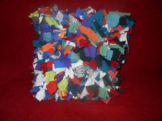 Shaggy Rag Rug Pillow Multi Colored Recycled T Shirt by melmac84