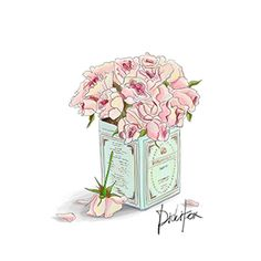 "LINE BOTWIN ""girly illustrations"" #chic #fashion #girly #illustration Flowers in blue Tin Jar $3.5"
