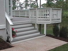 Trex stairs made from gray Trex decking, painted Trex composite risers. But care. Trex stairs made Deck Stairs, Deck Railings, Front Stairs, Front Deck, Under Deck Storage, Composite Decking, Trex Decking, Decking Material, Composite Material