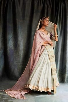 From couture collection: This farad ghaghri in kota silk with Gota baadal motifs and a lappa border is worn with an aubergine. Ethnic Outfits, Indian Outfits, Bridal Lehenga Collection, Indian Bridal Hairstyles, Fancy Blouse Designs, Organza Saree, Indian Couture, Indian Attire, Affordable Fashion