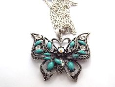 Butterfly & Turquoise Pendant Necklace $7.99