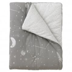 This cosmic play blanket features a night sky print of pearly white planets and constellations against a dove grey background.