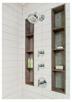 #farmhouse #shower #ideas #farmhouseshowerideas Small Bathroom With Shower, Shower Bathroom, Gold Bathroom, Tile Shower Niche, Bathroom Interior, Shower Walls, Bathroom Wall, Bathroom Layout, Bathroom Cabinets
