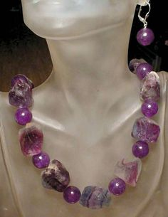 Necklace  Raw Fluorite Nuggets with Amethyst Round by camexinc, $49.00