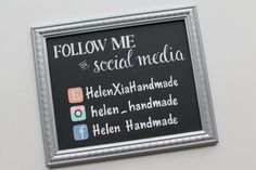 Custom hand painted signs are perfect for vendors and crafters that attend shows. This social media sign makes a unique addition to your booth.
