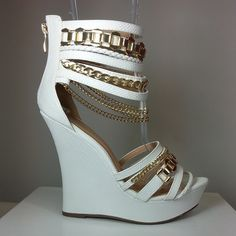 White wedges in leatherette material with  gold chain accent #cutesyoriginals