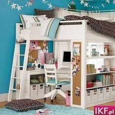 "How cute..not a kid but I wouldn't mind this for a smaller apartment lol ""kids bunk bed with desk and storage...love the storage at the end"""